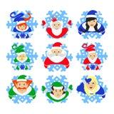 Święty Mikołaj elf ilustracja eps 10 asystentów na płatkach śniegu patrzeje up gerl ` s tradycyjny kostium ` rodziny elfs ilustracji