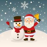 Święty Mikołaj i bałwan z kapeluszem ilustracja wektor