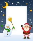 Święty Mikołaj i bałwanu rama Zdjęcia Royalty Free