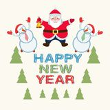 Święty Mikołaj i bałwany ilustracja wektor