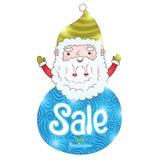 Święty Mikołaj i boże narodzenie sprzedaży odznaka Zdjęcie Stock