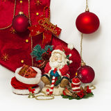 Święty Mikołaj i Bożenarodzeniowa świeczka Fotografia Royalty Free