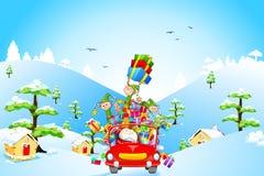 Święty Mikołaj i Elf z Bożenarodzeniowym prezentem ilustracji