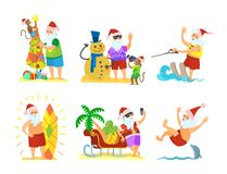 Święty Mikołaj i Małpi Dekoruje Parasolowy bałwan ilustracja wektor