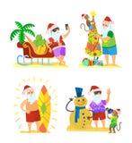 Święty Mikołaj i Małpi Dekoruje Parasolowy bałwan ilustracji