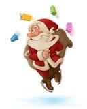 Święty Mikołaj i pchnięcie hulajnoga Fotografia Stock