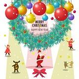 Święty Mikołaj i przyjaciele życzymy wam wesoło boże narodzenia & szczęśliwego nowego roku zdjęcie stock