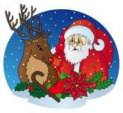 Święty Mikołaj i renifer Zdjęcia Royalty Free