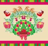 Święty Mikołaj i renifer - Abstrakcjonistyczna kartka bożonarodzeniowa Fotografia Royalty Free