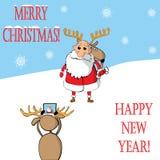 Święty Mikołaj i renifer fotografujący wektor royalty ilustracja