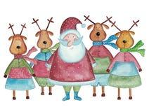 Święty Mikołaj i renifery Fotografia Stock