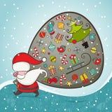 Święty Mikołaj i torba z prezentami royalty ilustracja