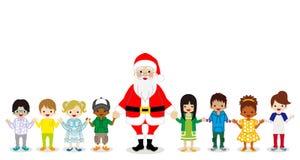 Święty Mikołaj i Wielo- Etniczni dzieci trzyma ręki royalty ilustracja