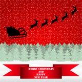 Święty Mikołaj jazda na reniferze royalty ilustracja