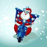 Święty Mikołaj jazda na rocznika moto rowerze Bożenarodzeniowej teraźniejszości dostawa Online sklepu kuriera wakacyjna usługa Ilustracja Wektor