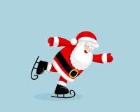 Święty Mikołaj jeździć na łyżwach Fotografia Royalty Free