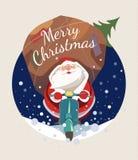 Święty Mikołaj jeździecka hulajnoga ilustracja wektor