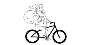 Święty Mikołaj Jeździeckiego Rowerowego rysunku 2D animacja zdjęcie wideo