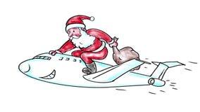 Święty Mikołaj jedzie dżetowego samolotu akwareli 2D animację zbiory