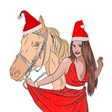 Święty Mikołaj jest seksownym kobietą w Nowym Year& x27; s ilustracja wektor