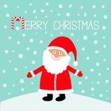 Święty Mikołaj jest ubranym czerwonego kapelusz, kostium, duża broda wesołych Świąt Cukierek trzcina Ślicznego kreskówki kawaii ś ilustracji