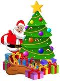 Święty Mikołaj kciuk W górę xmas drzewa z prezentów pudełkami Zdjęcia Stock