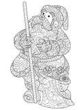 Święty Mikołaj kolorystyki wektor dla dorosłych ilustracja wektor
