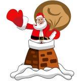 Święty Mikołaj kominu dachu Xmas Fotografia Royalty Free