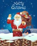 Święty Mikołaj kreskówki falowania ręka Święty Mikołaj z nastroszoną lewicą Zdjęcie Stock