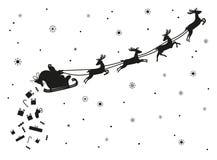 Święty Mikołaj latanie z rogaczem sylwetka Ilustracji