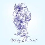 Święty Mikołaj llustration ręka rysujący wektorowy nakreślenie royalty ilustracja