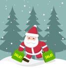 Święty Mikołaj mienia torba na zakupy Obrazy Stock