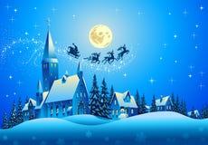 Święty Mikołaj na Bożenarodzeniowej noc Zdjęcie Royalty Free