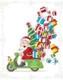 Święty Mikołaj na hulajnoga Niemądrej Wektorowej kreskówce ilustracja wektor