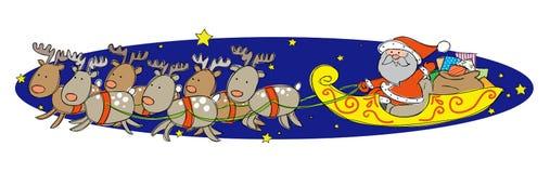 Święty Mikołaj na jego saniu Zdjęcie Stock