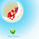 Święty Mikołaj na księżyc Obrazy Stock