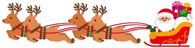 Święty Mikołaj na renifera saniu royalty ilustracja