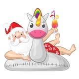 Święty Mikołaj na wakacje z jednorożec pływania nadmuchiwanym pierścionkiem - odosobnionym obrazy royalty free