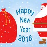 Święty Mikołaj naciskał jego brzucha na torbie z prezenta wpisowym szczęśliwym nowym rokiem Obrazy Stock