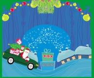 Święty Mikołaj napędowy samochód z Bożenarodzeniowym prezentem - Abstrakcjonistyczni boże narodzenia Fotografia Stock