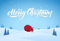 Święty Mikołaj niesie ciężką torbę prezenty na zimy śnieżnym krajobrazowym tle pełno Kreskówki scena ilustracja wektor