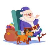 Święty Mikołaj obsiadanie Na krzesło wektorze zabawny pies Ciężki Workowy Pełny prezentów pudełka Wektorowi Błękitny Santa kostiu ilustracja wektor