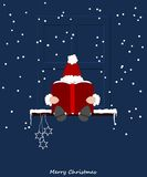 Święty Mikołaj obsiadanie na nadokiennym parapecie royalty ilustracja