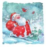 Święty Mikołaj odprowadzenie z torbą teraźniejszość ilustracja wektor