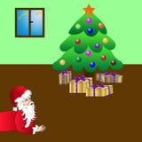 Święty Mikołaj ogląda jego dobrą pracę robić Obraz Royalty Free