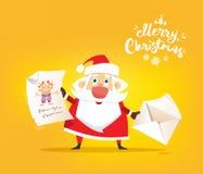 Święty Mikołaj otrzymywa list życzenia Wektor, ilustracja ilustracja wektor