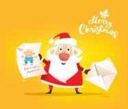 Święty Mikołaj otrzymywa list życzenie o zabawce Wektor, mieszkanie royalty ilustracja