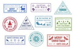 Święty Mikołaj poczta, boże narodzenie poczty znaczki royalty ilustracja