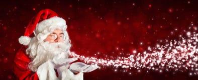 Święty Mikołaj Podmuchowy śnieg Obraz Stock