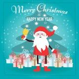 Święty Mikołaj postać z kreskówki z prezentów pudełkami Zdjęcia Royalty Free